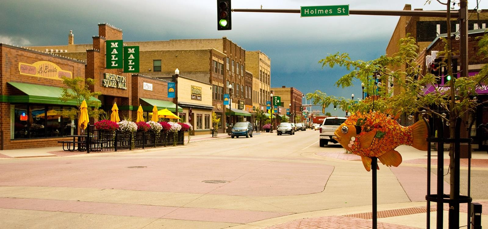 Washington Avenue CSAH 22 Downtown Detroit Lakes - Storm Clouds